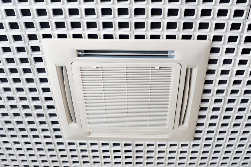 Air conditioning system installed on the ceiling