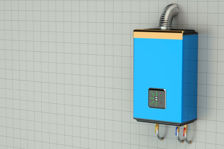 Blue home gas-fired boiler