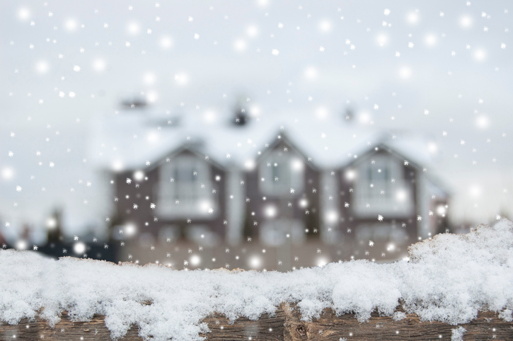 Living place in winter, snowfall. December.